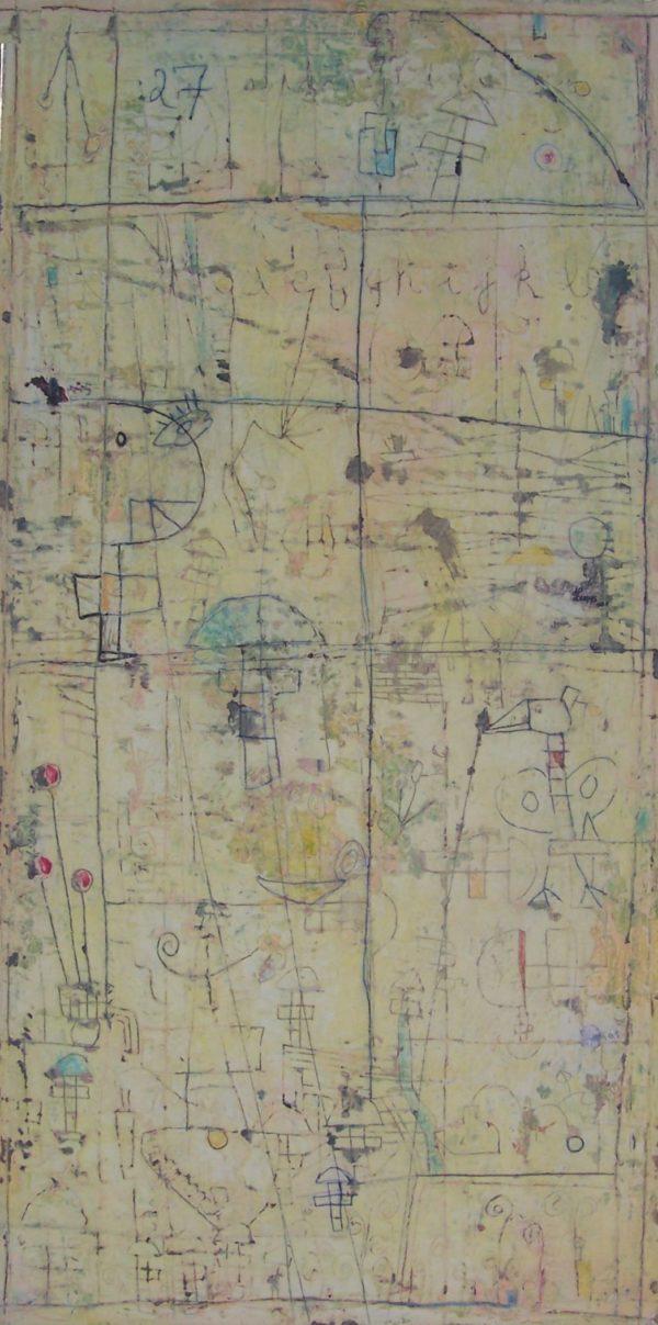 Hugo Duras -Enfant et Oiseau Jouant à la Marelle (150x60cm)