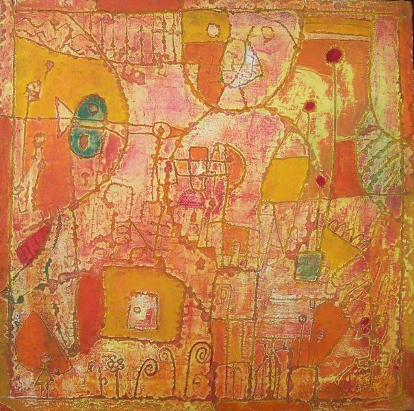 Hugo Duras -L'Arbre dans le Bonhomme-acrylique sur toile-40x40cm