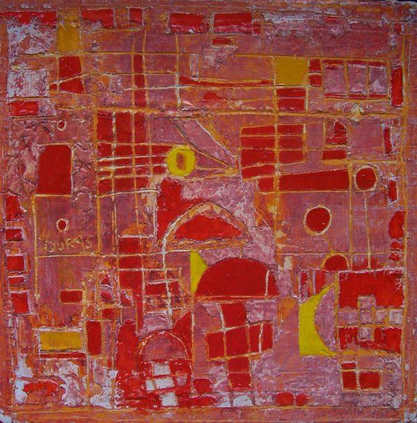 Hugo Duras -Marelle rouge (30x30cm)