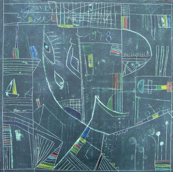 Hugo Duras -Tableau d'Ecole (60x60cm)